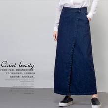 Free Shipping 2017 Fashion Women Plus Size S-XXL Denim Jeans Skirt With Side Slit Casual Cotton A-line Long Maxi Skirts Elegant