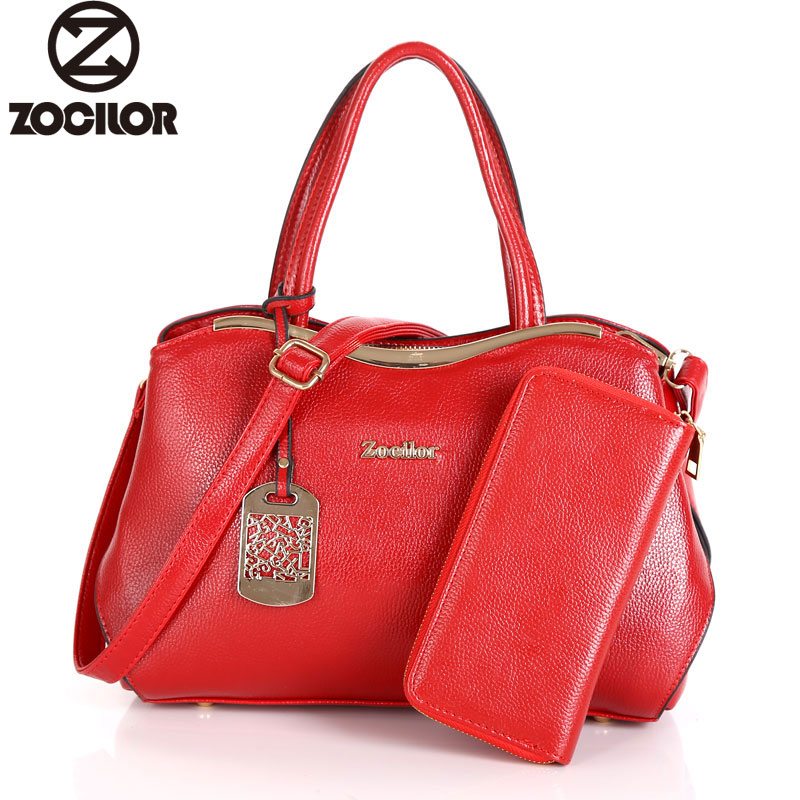 Women Bag Two Set Luxury Leather Purse and Handbags High Quality Famous Brands Designer Handbag Female Shoulder Bags sac a main 2016 new european women handbag geniune leather bag famous brand designer messenger bag female high quality shoulder sac a main