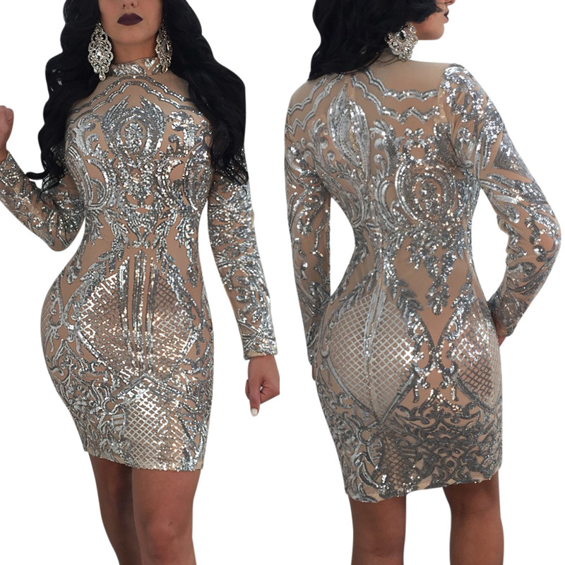 Detail Feedback Questions about 2018 Women Sequins Long Sleeve Club Dress  Gorgeous O Neck Bodycon Mini Party Dresses Stage Costumes Vestidos De Fiesta  on ... 88f9d4350c06