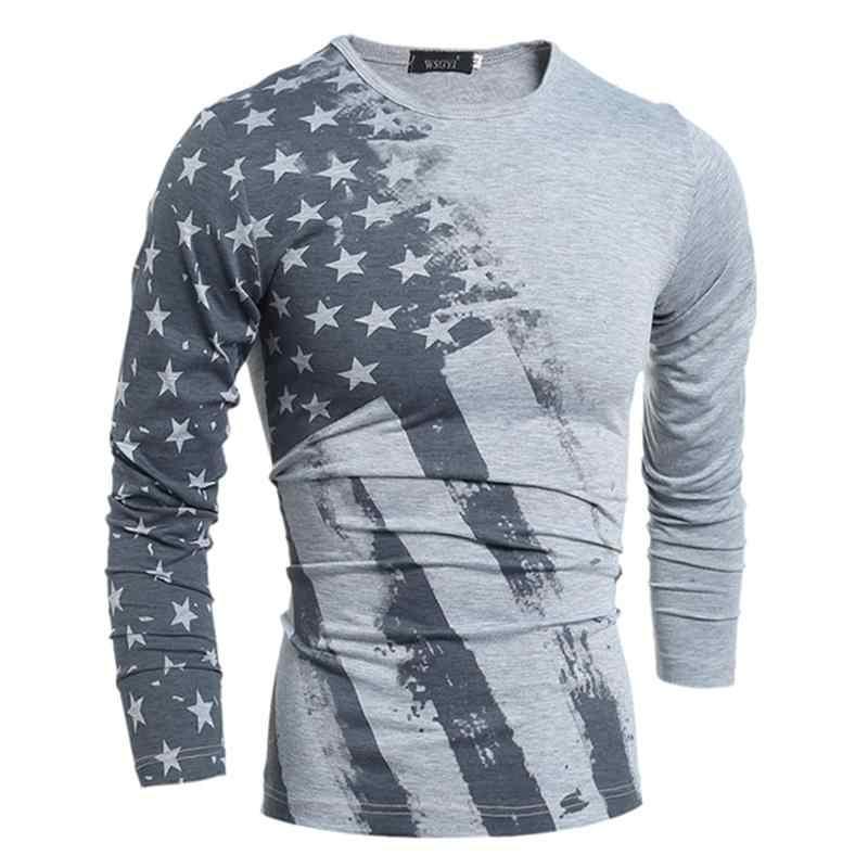 2019 Весенняя модная футболка с длинным рукавом США с принтом в виде американского флага футболки осенние мужские футболки Camiseta топы футболки