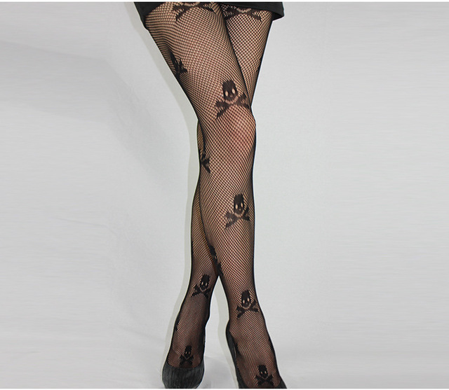 Womens Black Fishnet Pattern Jacquard Stockings Pantyhose skull