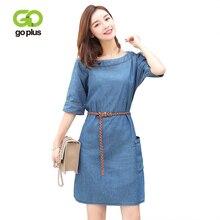 GOPLUS 2019 Spring Fashion Boho Denim Dress Women Clothing O-Neck Sashes Short Sleeve slim Beach Plus Size Casual Vestidos