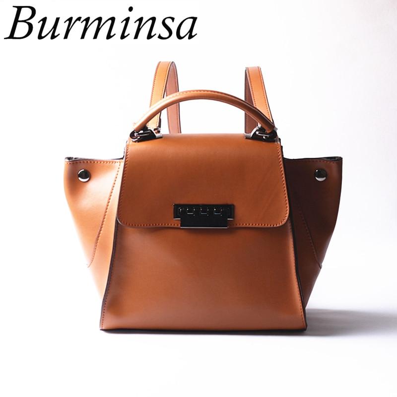 Burminsa Women Genuine Leather Backpack Trapeze Swing Shoulder Bags Designer Travel Bagpack School Bags For Teenage