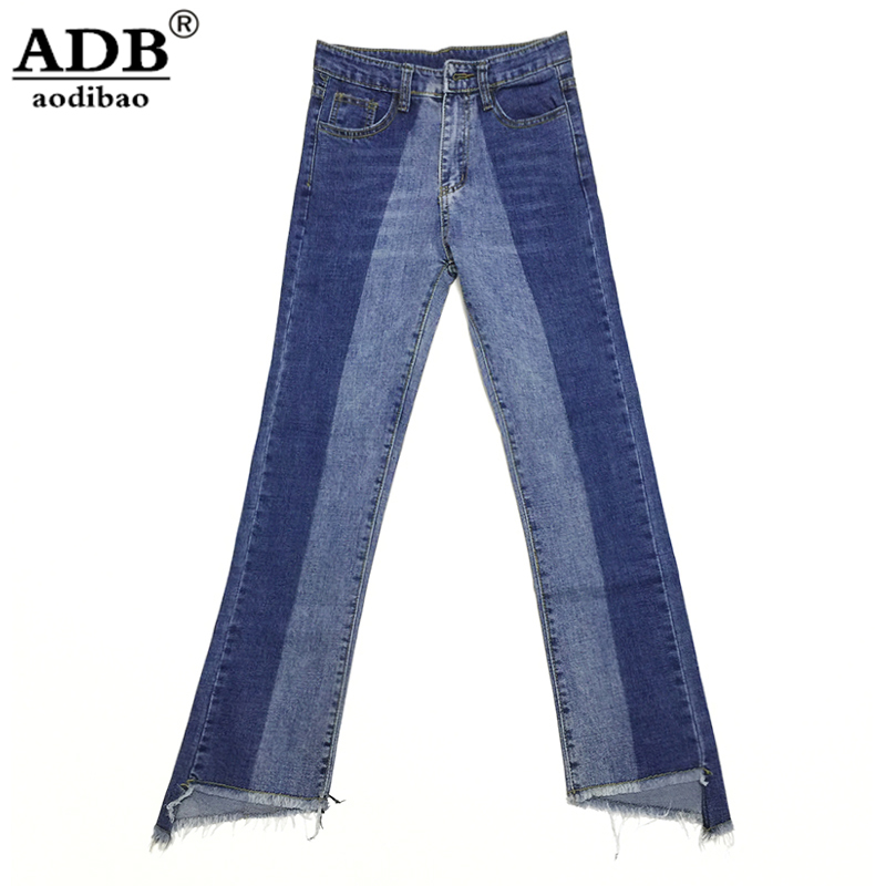 ФОТО Aodibao 2017 Spring Summer Elasticity High Waist Jeans Women Spciling Irregular Vintage Nine pants Loose Plus Size Denim Pants