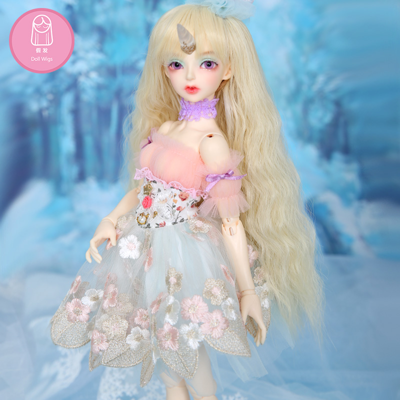 Wig For BJD Doll Free Shipping Size 7-8inch 1/4 High-temperature Handmade Wig Long Hair Bjd Sd Doll Wigs In Beauty   Luodoll
