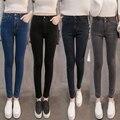 Otoño Las Mujeres de Cintura Alta Pantalones Vaqueros Flacos del Dril de algodón Ocasional Más El Tamaño de Lápiz Pantalones casuales flacos del dril de algodón pantalones pantalones femeninos delgados