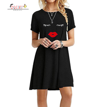 2QIMU 2019 Womens Fashion Cartoon Print Summer Casual Dress O-Neck Short Sleeve Solid A-Line Knee-Length Vestidos