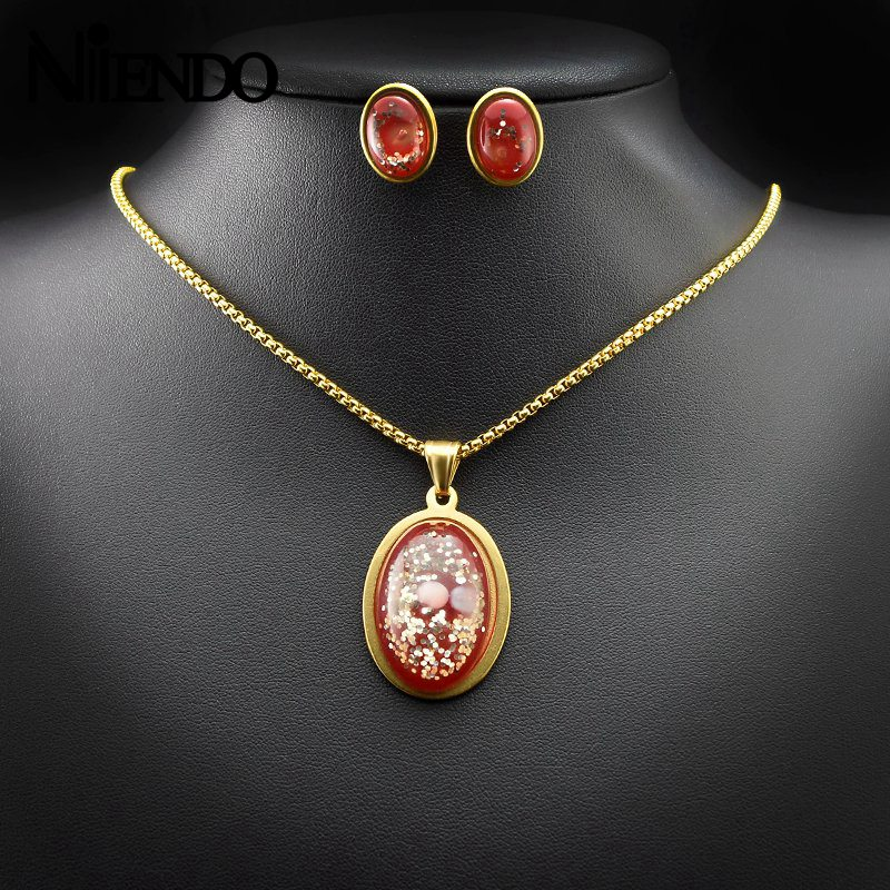 NIENDO Engagement New Style Trendy Women Stainless Steel Gold Color Oval red glass beads sequin pendant earrings Jewelry Sets
