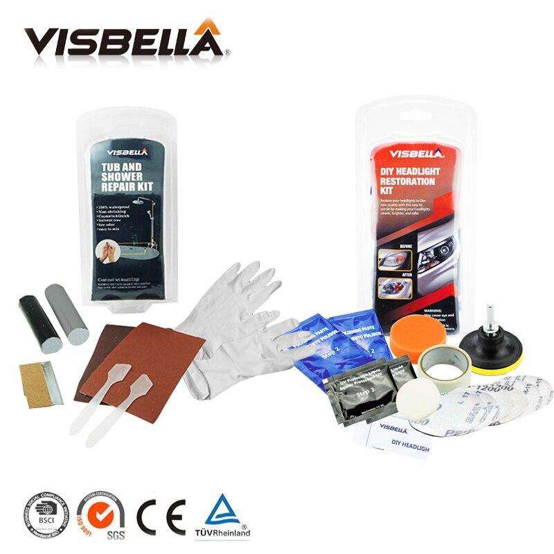 Visbella DIY Tub and Shower repair kit Bath crock repair glue and Headlamp Restoration Kit Fix Foggy Headlights Clean Headlights