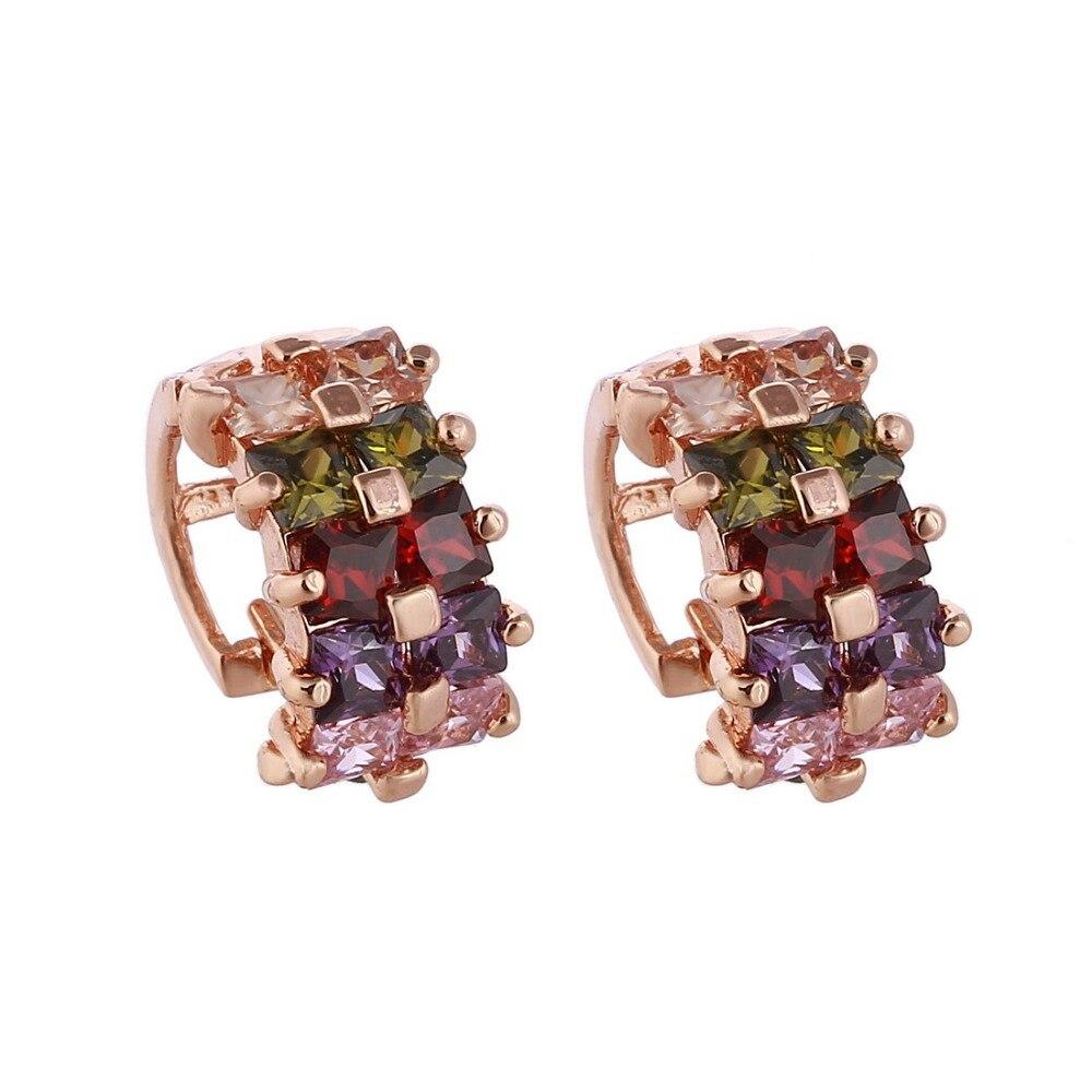 d4f3a2277b12 Colorido zirconia cristal Pendientes geometría encanto Pendientes para las mujeres  moda joyería al por mayor