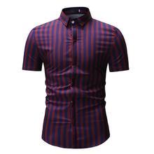 Striped Mens Shirts Casual Hawaiian Shirt Short sleeve Clothing Slim fit Dress Red Green