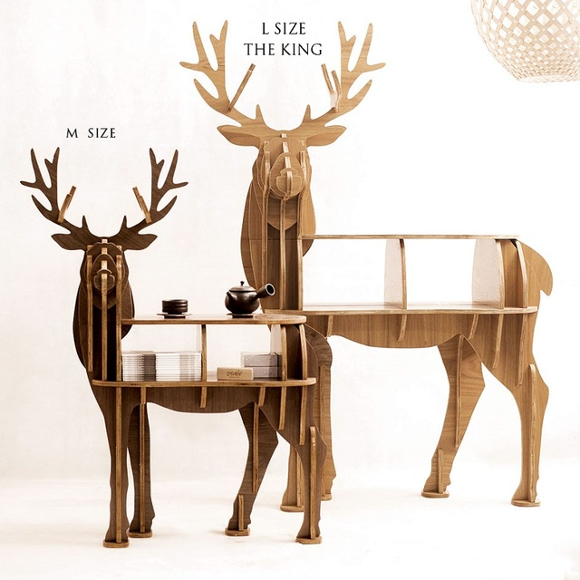 "New! High-end ""S"" size lookback reindeer table Wooden home furniture! self-build puzzle furniture"