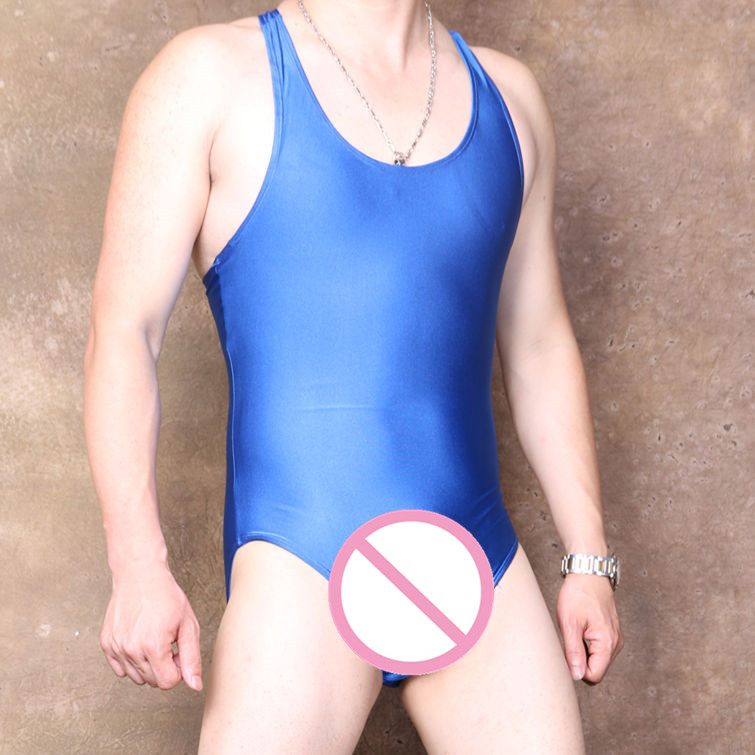 (MS073) Lycra spandex light blue men catsuit elastic sexy unisex tights bodysuit
