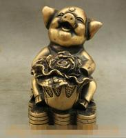 S01390 Folk China Bronze Wealth Coin Chinese Cabbage Cai Lucky Pig Statue Sculpture B0403