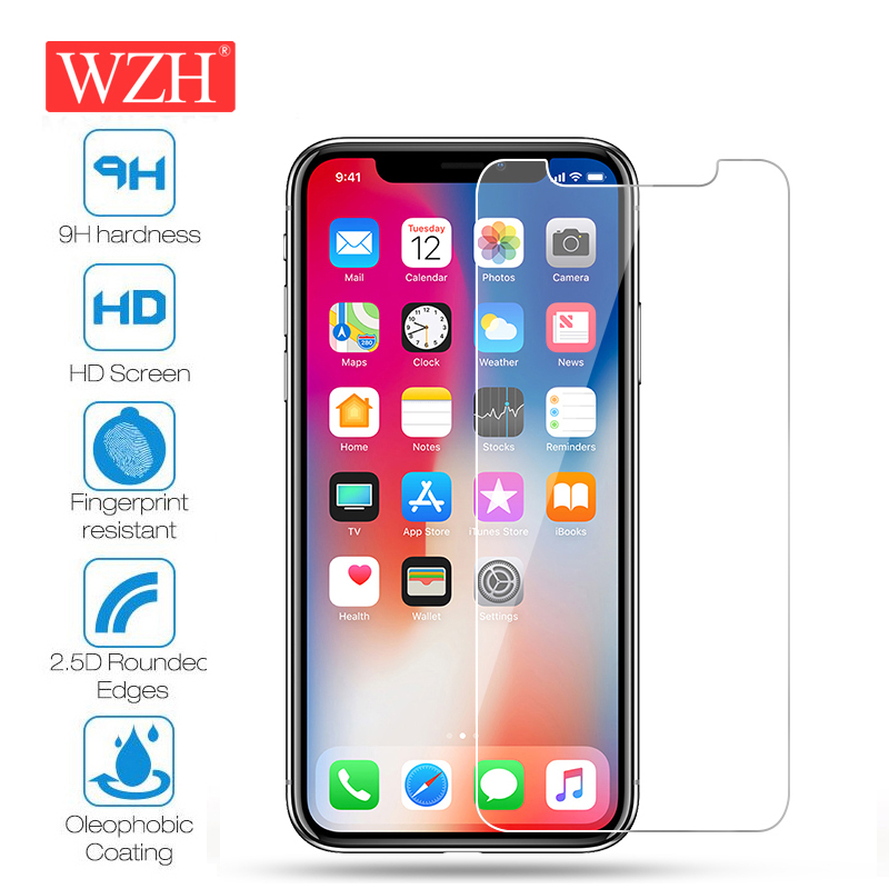 WZH 9H Glass on iPhone XS XR XS MAX Tempered Glass Screen Protector On iPhone 5 5S 5C SE 6 6S 7 8 Plus X 4 4S Protective Film