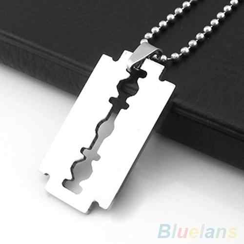 hot Men's Stainless Steel Razor Blade Pendant Silver Color Beaded Ball Chain Necklace