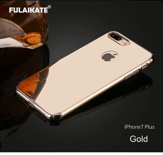 FULAIKATE For iPhone 7 Plus Case Luxury Plating Aluminum Metal Frame +  Mirror Hard PC Back 68a669523cf9