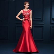 Neue Ankunft 2016 Dubai Langen Roten Perlen Kristall Meerjungfrau Abendkleid Open Back Kleider robe de soiree