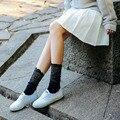 10 Pares Mulheres Meias Com Rendas Meias Pretas de Algodão Mulheres Branco Preto Curto Sólidos Senhoras Meninas Harajuku Meias Coreano Atacado