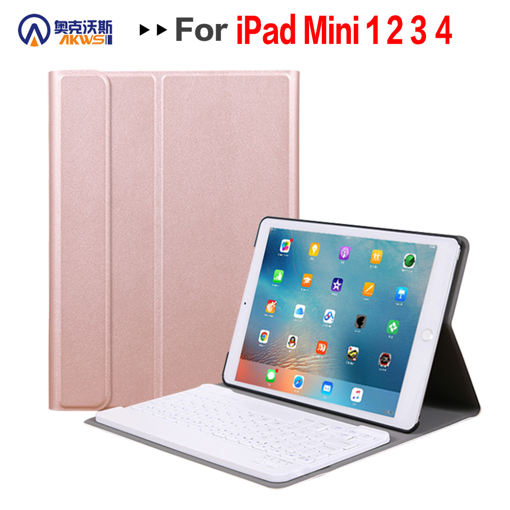Walkers Bluetooth Keyboard Case for iPad Mini 1 2 3 4 5 2019 released Wireless Removable Tablet Cover Case Chargeable