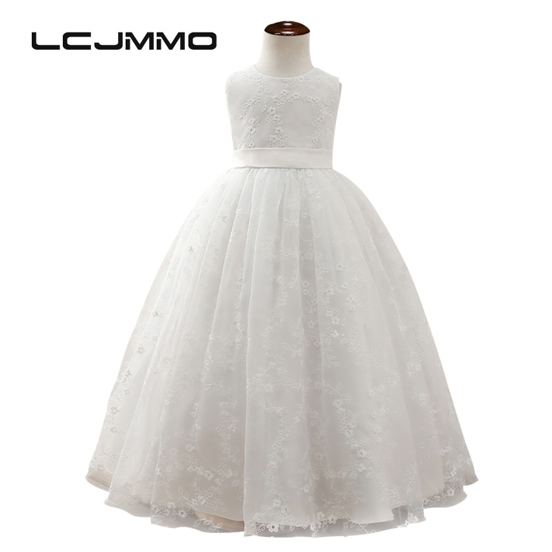 LCJMMO 2017 Mesh Embroidery Dresses Girls Summer Children Sleeveless White Princess Dress Wedding Party Clothing for Girls Kids maternity clothing spring twinset lace fairy princess wedding one piece dress white embroidery dress full dress summer