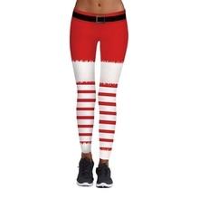 *Women Christmas Pants Red And White Stripes Cosplay Leggings Christmas Fashion Pencil Trouser Trend Slim Legging Drop Shipping*