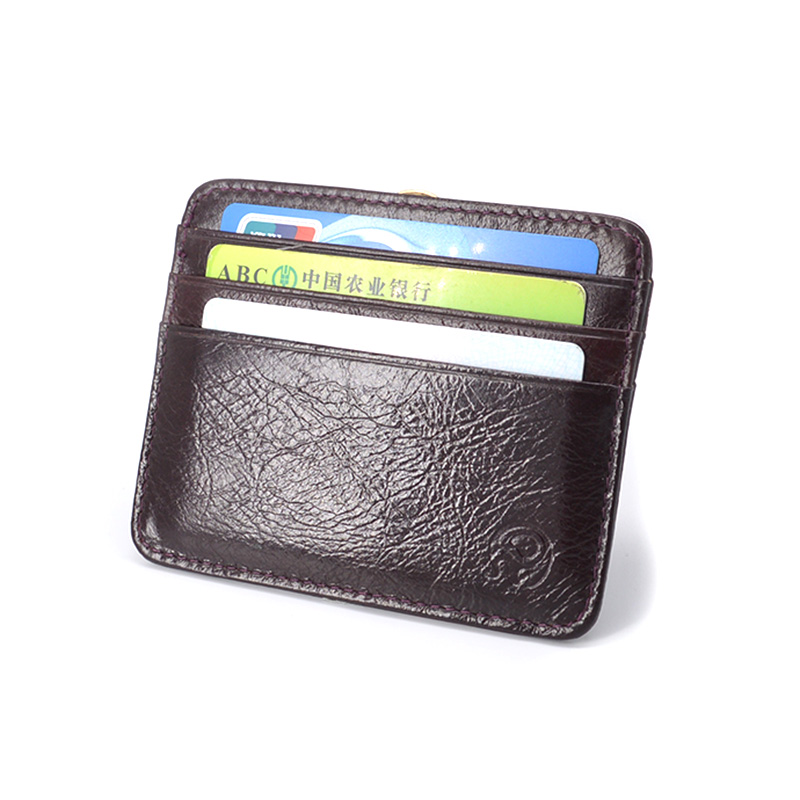 top quality cow leather simple credit card holder card