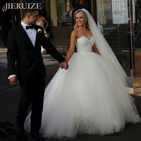 JIERUIZE White Simple Ball Wedding Dresses Sweetheart Lace Up Back Princess Wedding Gowns Bride Dresses