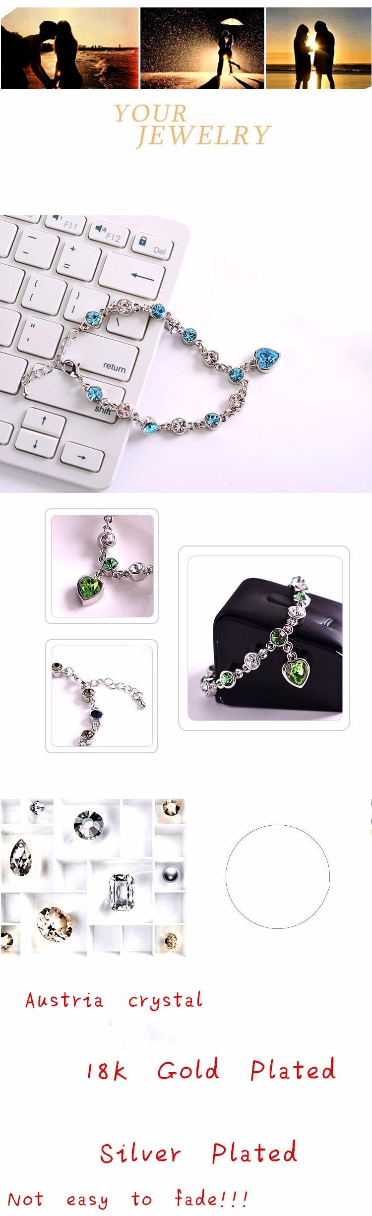 LYIYUNQ Fashion Bracelet Hot Wedding Female Heart Crystal Bracelets For Women Luxury Temperament Silver-Color Fine Jewelry Gift 13