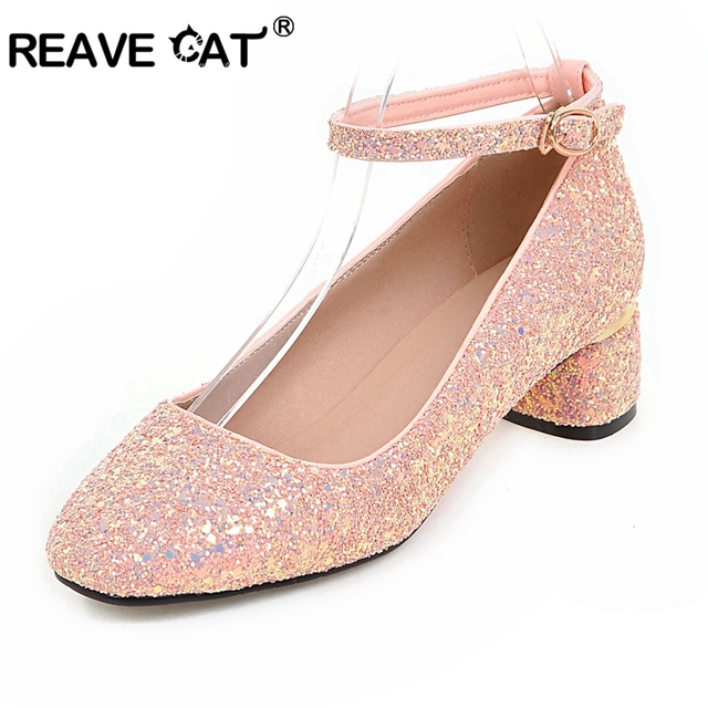 REAVE CAT women high heels prom wedding shoes woman crystal pink Glitter  bling bridal shoes thick d80f1cc9ef63