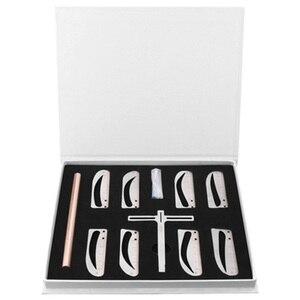Image 3 - 1 zestaw regulowana pozycja regulacja brwi Eye brow Measure Balance Extension linijka kształt wzornik maszynka do tatuażu szablon praktyki