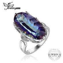 Jewelrypalace 10ct mystic blue rainbow anillo de cóctel topas cóncava genuino esterlina del sólido 925 de plata del encanto de la vendimia regalo joyería