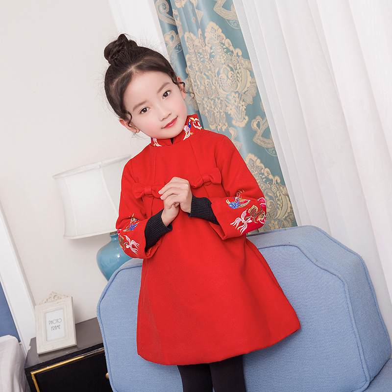 2017 Red Chinese Style Qipao Costume Traditional Kids Cheongsam Girl Children  New Year Dress Princess Dresses 2-8Y chinese style traditional girls winter dress child tang suit embroidery cheongsam dresses robe baby qipao for new year dresses
