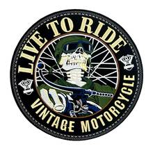 LIVE TO RIDE LARGE skull MOTORCYCLE BACKING Embroidered biker Patches