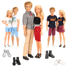 KEN Clothes 10 Items/Set Accessories =3 Suits +2 Shoes For Ken +3 Clothes+2 Barbie Doll Lovers Dolls