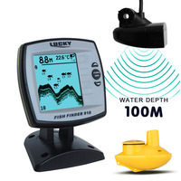 LUCKY FF918 100WS 3 9 Inch LCD Display Brand Boat Fish Finder 2pcs Wired Wireless Fishfinder