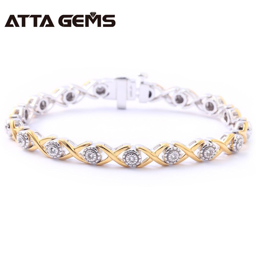 Natürliche Diamant Sterling Silber Armband Gelb Gold Überzogene 100% Natürliche Diamant für Frauen Hochzeit Charming Armband-in Armbänder & Armreifen aus Schmuck und Accessoires bei  Gruppe 1