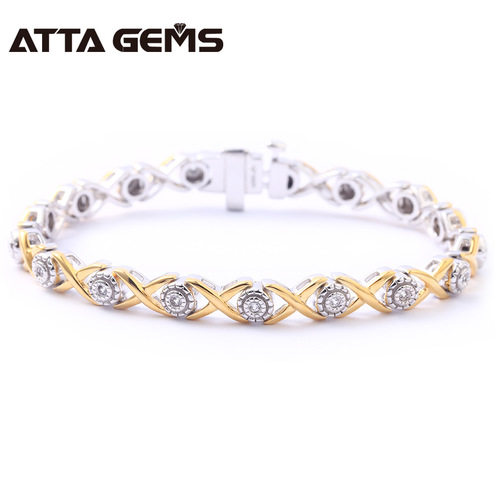 Natural Diamond Sterling Silver Bracelet Yellow Gold Plated 100% Natural Diamond for Women Wedding Charming Bracelet цена