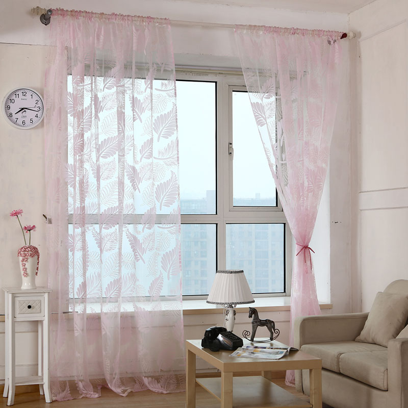 new leaves pattern window voile curtains 3 colors 12 m living room valances tulle sheer drape curtains vbj75 p20 - Valances For Living Room