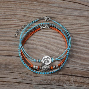 Charm Anklet Turtle Wax-Rope Foot-Chain Tricolor Women Bracelet Silver New-Style Fashion