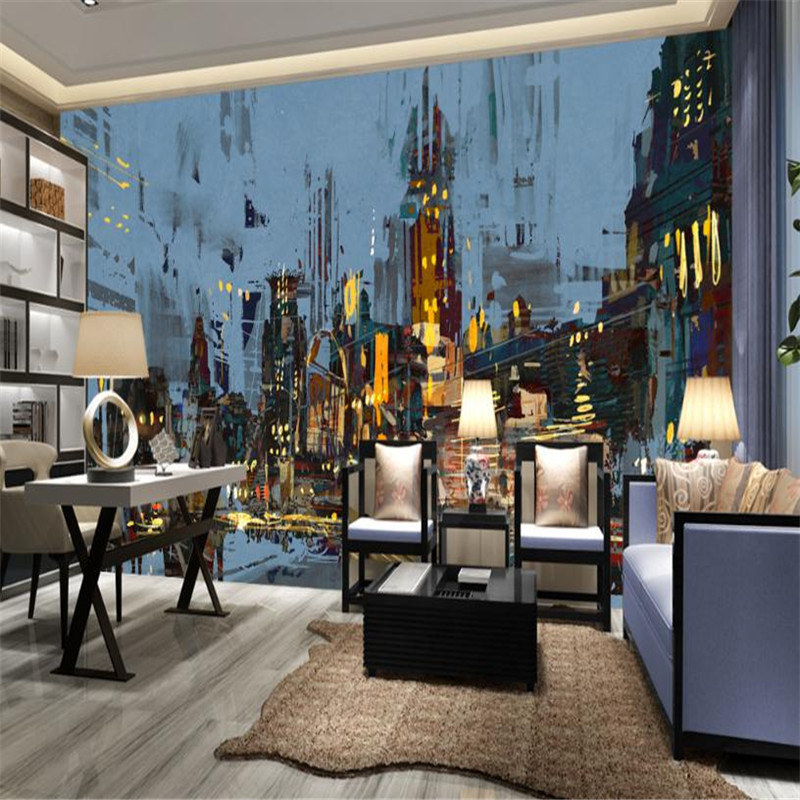 custom modern 3d effect photo wallpaper Nordic large abstract living room bedroom background wall mural city night wallpaper book knowledge power channel creative 3d large mural wallpaper 3d bedroom living room tv backdrop painting wallpaper
