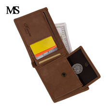 Real Leather Wallet Men Organizer Wallets Brand Vintage Genuine Leather Cowhide Short Men's Wallet Purse With Coin Pocket TW075
