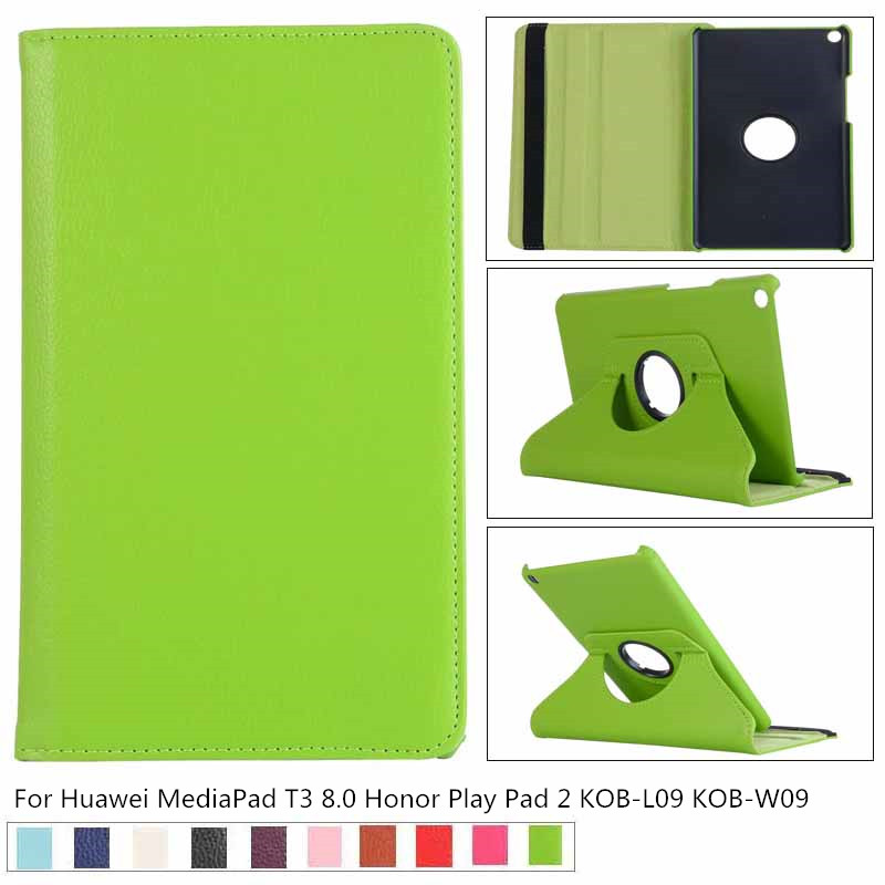 360 Rotating PU Leather Case for Huawei MediaPad T3 8.0 Honor Play Pad 2 KOB-L09 KOB-W09 Tablet Cover for Huawei T3 8.0 + film