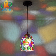 European style colorful glass simple small lamp Tiffany balcony corridor corridor lighting creative personality lighting