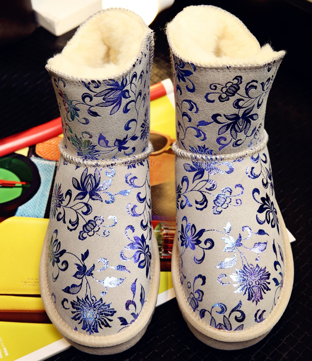ФОТО New Gorgeous Women Ankle Snow Boots Beautiful Blue Porcelain Flower Round Toe Boots Grey Blue Shoes Woman US Size 3.5-10.5