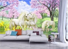 Custom mural 3d room wallpaper Dream unicorn blossoms home decoration painting picture 3d wall murals wallpaper for wall 3 d цена
