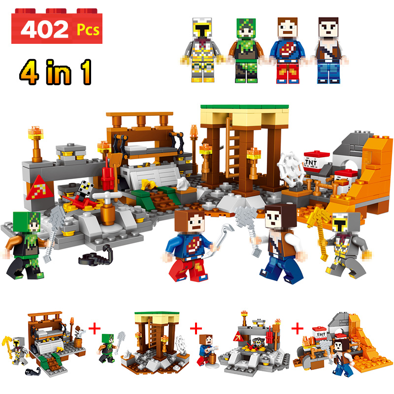 LELE My World Series Mine World mine Model Building Blocks Kit Technic Children Toy Compatible LegoINGlys Minecrafter 4 in 1 lele my world power morse train building blocks kits classic educational children toys compatible legoinglys minecrafter 541 pcs