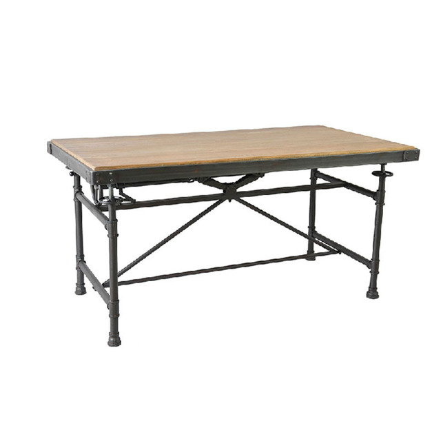 Antique Iron American Country Pine Work Table Desk Study Long Table Can  Lift Vintage Wood Table