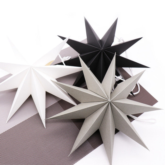 1pcs White Wooden Number 0 9 Bridal Wedding Birthday Party: 1pcs 27cm 3D Angles Paper Star Hanging Reusable Christmas