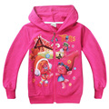 2017New Year Trolls Girls Coat Spring Cartoon Cotton hooded Coat For Girls Christmas Costume Baby Girl Clothes Kids clothing
